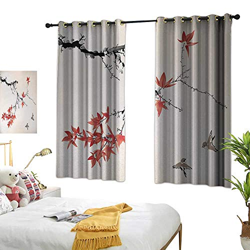 (Anshesix Curtain for Kids Japanese Cherry Blossom Sakura Tree Branches Romantic Spring Themed Watercolor Picture W55 xL63 Coral Black Suitable for Bedroom Living Room)