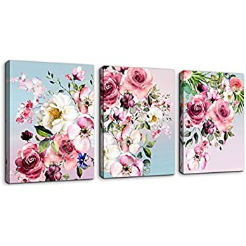 Flower Canvas Wall Art for Bedroom Woman Wall Decor Pink White Flowers Picture 3 Piece Framed Artwork Modern Plant Floral Canvas Prints for Kitchen Home Bathroom Girls Room Wall Decoration 12
