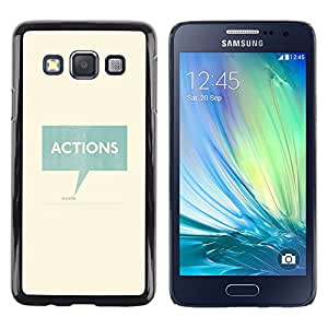 LECELL--Funda protectora / Cubierta / Piel For Samsung Galaxy A3 SM-A300 -- Actions Speaks Teal Text Box Minimalist --
