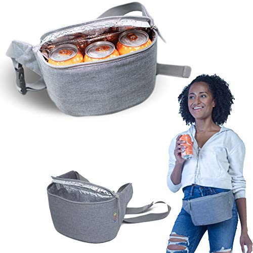 Festival Cooler - Gopacka Insulated Fanny Pack Cooler for Outdoors, Travel, Camping, Hiking, Sports Waist Pack Bag with Adjustable Strap Unisex (Heather Grey)