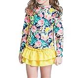 NHockeric Baby Girls Kids 3 Piece Long Sleeve Floral UV Sun Protection Rash Guards Swimsuit Bathing Suit