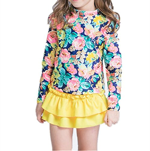 NHockeric Baby Girls Kids 3 Piece Long Sleeve Floral UV Sun Protection Rash Guards Swimsuit Bathing Suit Yellow 9-10 Year