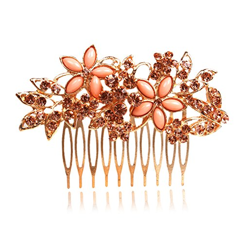 Women Flower Crystal Rhinestone Pearls White K Hair Comb Clip Wedding Bridal (Golden) - Flowers White Crystal