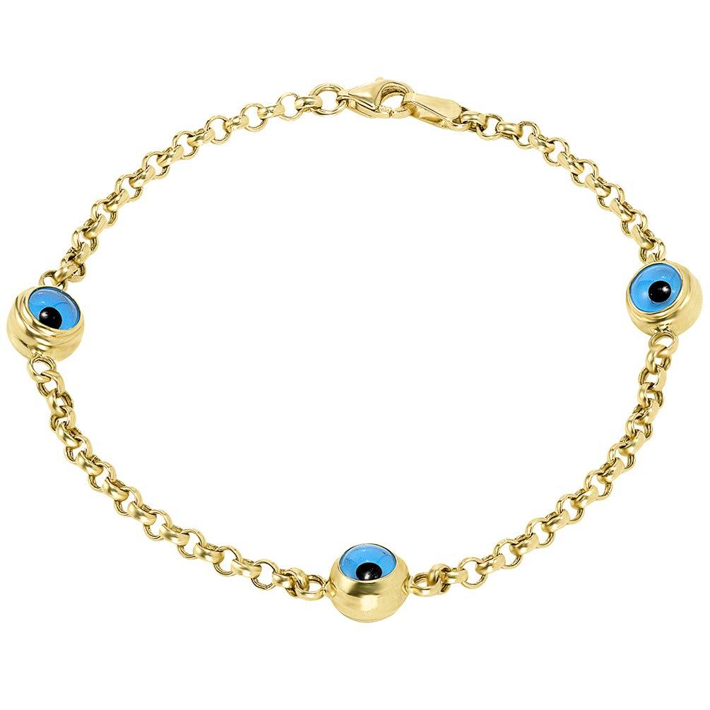 14k Solid Yellow Gold Eye of Nazar Blue Evil Eye 2.5mm Rolo Chain Link Bracelet, 8'' by JewelryAmerica