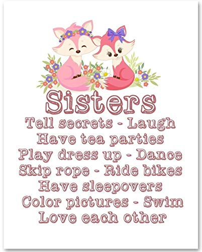 Sisters Nursery Art - 11x14 Unframed Art Print - Makes a Great Gift Under $15 for Nursery or Child's Room Decor