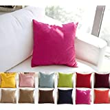 "TangDepot Decorative Handmade Solid 100% High Quality Cotton Canvas Throw Pillow Covers /Pillow Shams - (20""x20"", Brilliant rose)"