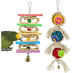 MEWTOGO 2 Pack Nature Bird Toys -Small Parrot Hanging Tearing Toy and Rattan Balls Chewing Toy for Small Medium Birds