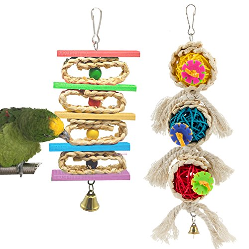 MEWTOGO Bird Parrot Toys -Small Bird Hanging Chewing Toy and Rattan Balls Chewing Toy for Small Medium ()
