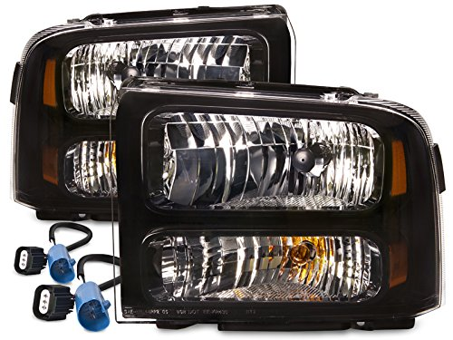 HEADLIGHTSDEPOT Black Halogen Headlights Compatible with Ford Excursion F-250 Super Duty F-350 F-450 F-550 Includes Driver and Passenger Side Headlamps Conversion Kit MODIFICATIONS REQUIRED ()