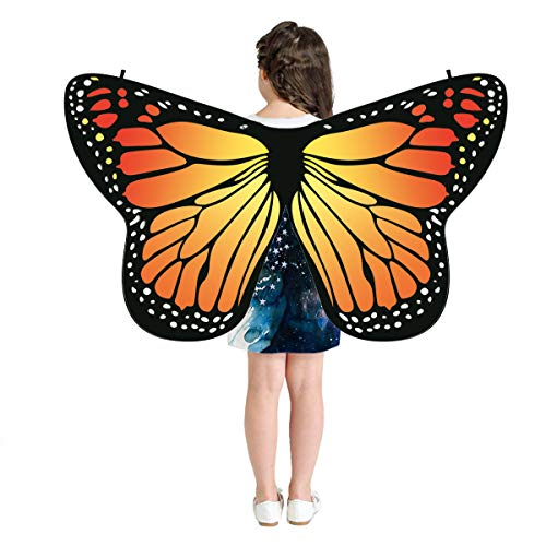 LOHZAQ Kids Fairy Butterfly Wings Costume for Toddler Girls Dress up Pretend Play Birthday Party Favor (Orange-Red) -