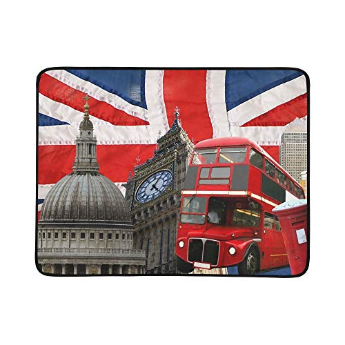 YSWPNA British Flag Close Portable and Foldable Blanket Mat 60x78 Inch Handy Mat for Camping Picnic Beach Indoor Outdoor Travel