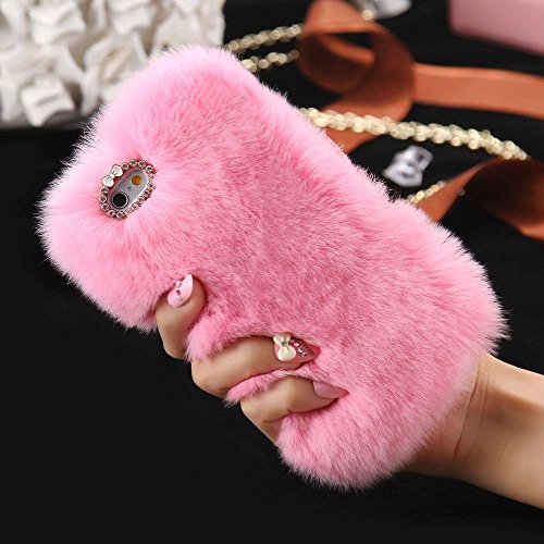 iPhone 7 Plus case,YiMiky Luxury Winter Soft Warm Fluffy Handmade Faux Fur with Bling Pearl Crystals Diamond Cute Bowknot Protective Cover for 5.5 Inch iPhone 7 Plus(Pink)