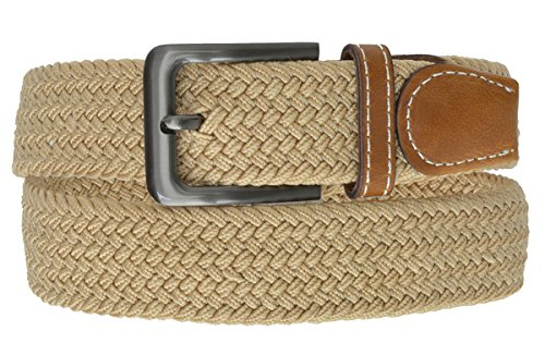 Mens Stretch Leather (Tan Braided Elastic Stretch Belt With Metal Buckle and Leather tipped end by Marshal)