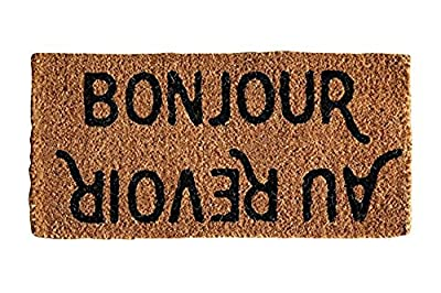 "Creative Co-op""""Bonjour/Au Revoir Natural Coir Doormat, 32"" x 16"","