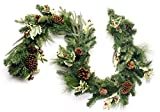 CraftMore Blakeley Pine Garland with Holly 6 Feet