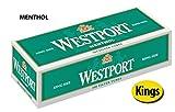 Westport 100's Filter Cigarette Tubes Menthol Green 50 Cartons (1 Case)