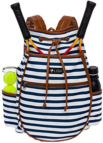 (LISH Down The Line Canvas Tennis Racket Backpack - Women's Striped Print Drawstring Racquet Holder Bag (Navy Stripe))