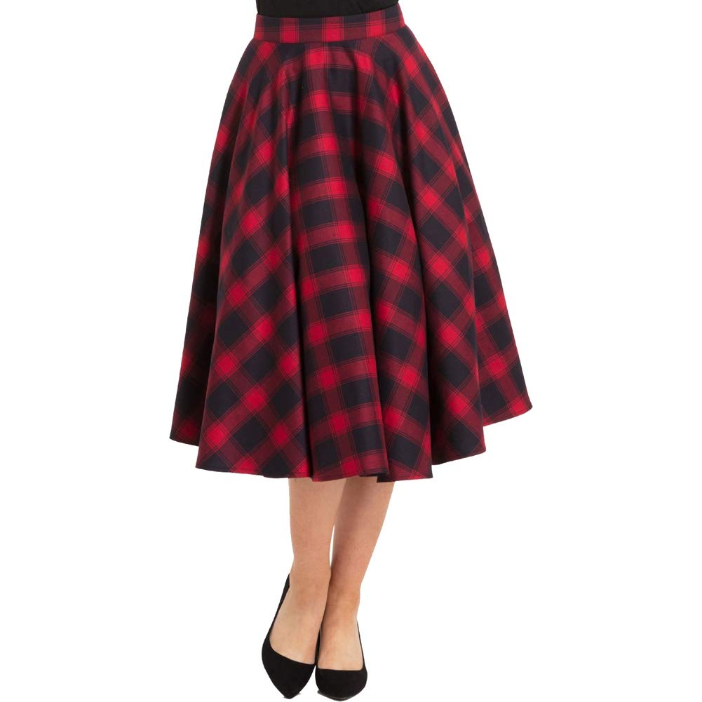 1950s Swing Skirt, Poodle Skirt, Pencil Skirts Voodoo Vixen May Plaid Full Circle Skirt Red $42.99 AT vintagedancer.com
