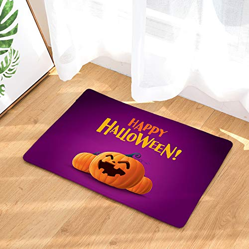 YQ Park Machine Washable Door Mat Happy Halloween Pumpkin Smiley Indoor/Outdoor Door Mat Fun Flannel Carpet ()
