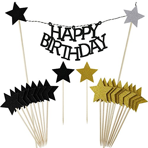 Shxstore Black Happy Birthday Cake Bunting Banner Star cupcake toppers picks for Baby Shower Party Favors Decorations Supplies, 21 Counts (Birthday Cake Star)