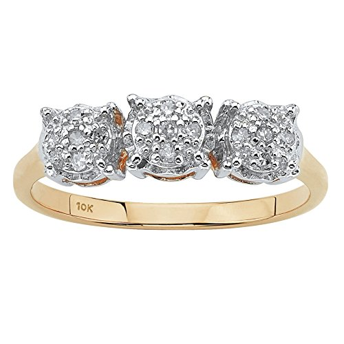 Round White Diamond 10k Yellow Gold Cluster Ring (.10 cttw, HI Color, I3 Clarity) Size 10
