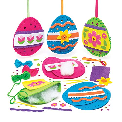 Baker Ross Easter Egg Sewing Kits (Pack of 3) Easter Crafts for Kids to Make, Decorate and - Sewing Easter Crafts