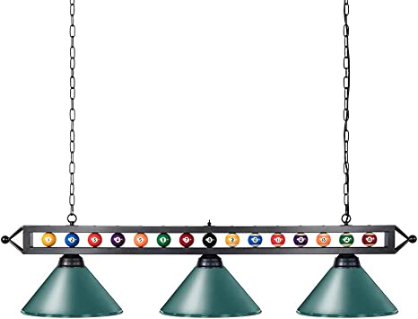 Amazon Com Wellmet 59 Pool Table Light 3 Lights Hanging Pool Table Lighting Adjustable Billiard Lights For 7ft 8ft 9ft Pool Billiard Table Bar Table Green Home Kitchen