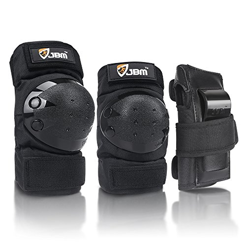 JBM international Adult / Child Knee Pads Elbow Pads Wrist Guards 3 In 1 Protective Gear Set, Black, Youth / -