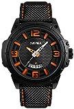 Men's Casual Watches with Calendar Date Window Leather Strap Waterproof Fashion Style IP Black Plating Quartz Wrist Watch (Orange)