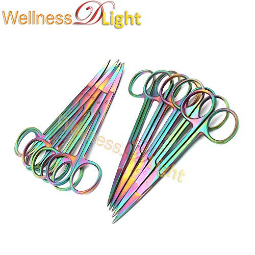 Wdl Set of 12 Multi Titanium Color Rainbow Iris Scissors 4.5'' Straight & Curved Stainless Steel by WellnessD'Light