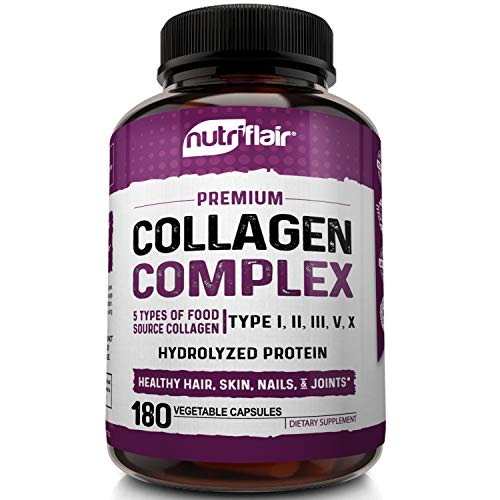 510akCL6B6L - Multi Collagen Pills 2250mg - 180 Capsules, Type I, II, III, V, X - Grass Fed Bone Broth Collagen Peptides for Anti-Aging, Joints, Hair, Skin, Nails - Hydrolyzed Protein Supplement for Women and Men