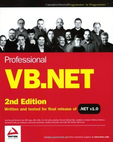 Professional VB.NET, Second Edition 2nd edition by Barwell, Fred, Case, Richard, Forgey, Bill, Hollis, Billy, M (2002) Paperback