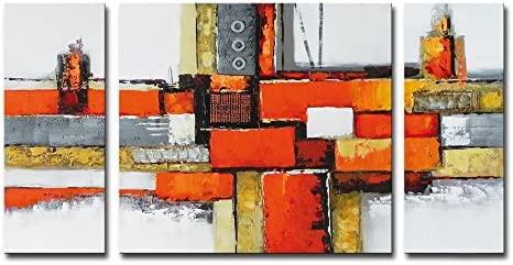 Noah Art-Contemporary Abstract Artwork, 100 Hand Painted Gallery Wrapped Abstract Oil Paintings on Canvas, 3 Piece Framed Large Orange Abstract Wall Art for Living Room Wall Decor, 24 H x 48 W