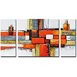 "Noah Art-Contemporary Abstract Artwork, 100% Hand Painted Gallery Wrapped Abstract Oil Paintings on Canvas, 3 Piece Framed Large Orange Abstract Wall Art for Living Room Wall Decor, 24"" H x 48"" W"