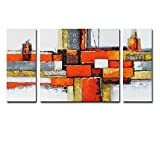 Noah Art-Contemporary Abstract Artwork, 100% Hand Painted Gallery Wrapped Abstract Oil Paintings on Canvas, 3 Piece Framed Large Orange Abstract Wall Art for Living Room Wall Decor, 24'' H x 48'' W