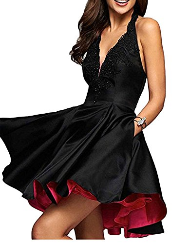 Green Cocktail Short Black with Lo Homecoming Neck Prom Dress Dress Women's DYS Hi V Pocket nw4F6gxSq