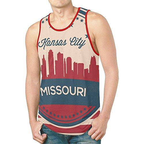 LumosSports Vintage Missouri State Kansas Skyline Men's 3D Printed Tank Top