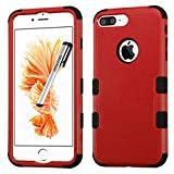 Apple iPhone 7 PLUS Case, Tuff Double Layer Cover for Apple iPhone 7 PLUS with Stylus Pen ApexGears (TM) Red Black