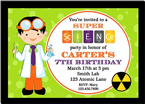 Halloween Party Invitation - Halloween Invitation - ANY Hair Color and Skin Tone - Super Scientist -
