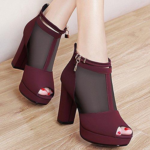 Zapatos Rhinestone De Chunky A Fiesta Casual Spring Media Boots Vino Summer Mujeres Mujer Heel Botas Para Fashion Haizhen Pierna Tinto Oq5d1O
