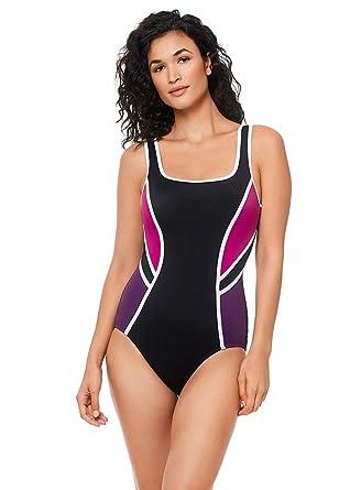 05488907fde68 Reebok Women's Swimwear Sport Fashion Colorblock Scoop Neck One Piece  Swimsuit, BlackBerry Purple, ...