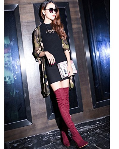Minetom Womens Sexy Stilleto Stretchy Over The Knee Boots Slender High Heel Boots Thigh Boots Red llCguHQ