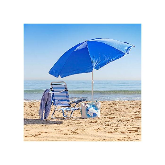 510akehOIBL Esta sombrilla está hecha de protección UV y poliéster antidecoloración que es perfecta para bloquear los dañinos rayos UV del sol. Es inclinable, regulable en altura y plegable. Una propuesta novedosa, práctica y funcional para disfrutar de laplayay el sol, que te garantiza una buena sombra.