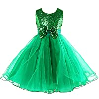 Sequin Dress for Girl, Acecharming Knee Length Sleeveless Bow-knot Design Wedding Fancy Party Tulle Dress,Green,Size 8 Suitable for 6-7 years old