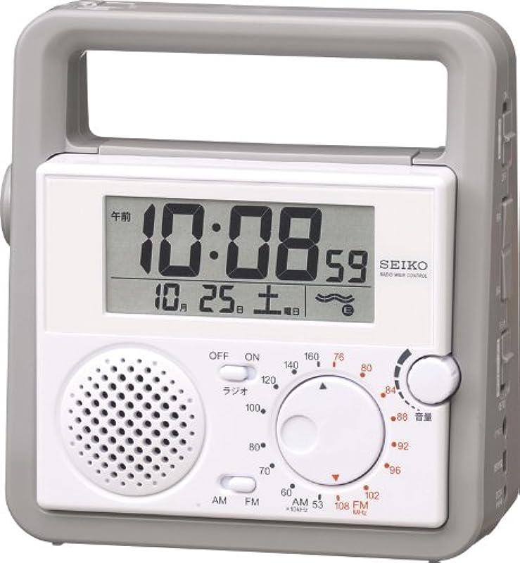 SEIKO CLOCK 디지탈 방재 라디오 시계 손전등 수동 발전기 SQ692W