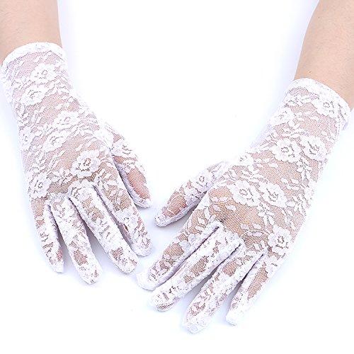 GREATLOVE Women's Summer Elegant Short Lace Elastic Gloves (White)]()