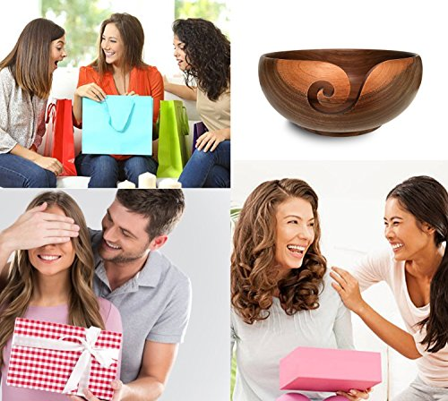 Yarn Bowl Walnut and Knitting Bag Bundle - 7''X3'', Wooden, Handmade from Special European Walnut Wood - Storage Organizer, holder for Knitting and Crochet by Yarn Story- Perfect Gift! by YARN STORY (Image #5)