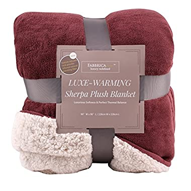 Fabbrica Home Reversible Sherpa Large Blanket with Faux Sheep Fleece Lining and Warmth-Retention Volcanic Fiber in Red, Gray, Full/Queen, King (RED - King, 90  x 108 )