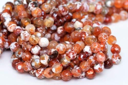 6mm Natural Orange and White Cracked Agate Beads Grade A Faceted Round Beads 14'' Crafting Key Chain Bracelet Necklace Jewelry Accessories Pendants ()