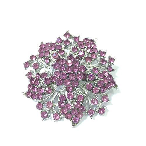 (Ezing Fashion Jewelry Beautiful Silver Plated Rhinestone Crystal Brooch Pin for Woman (Purple))